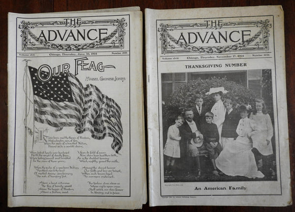 Teddy Roosevelt cover & American Flag The Advance magazine 1904 lot x 2 issues