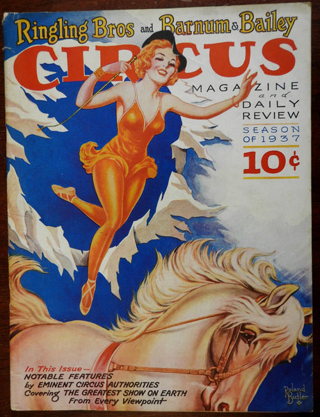 Circus Magazine 1937 Ringling Bros Barnum & Bailey early cartoons advertising