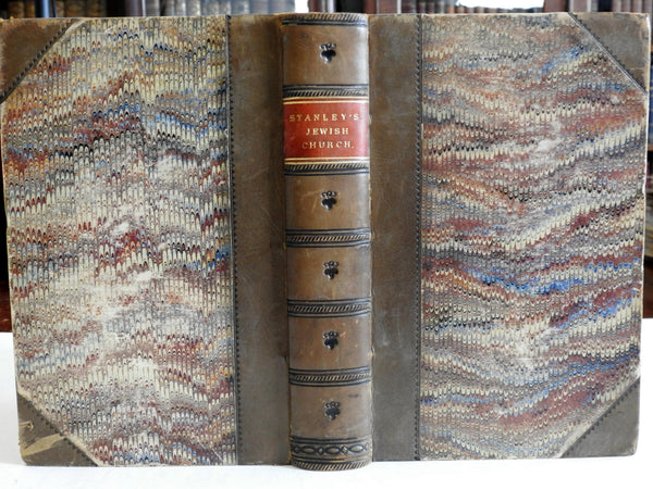 History of Early Judaism Jewish Church 1863 Stanley leather book folding maps