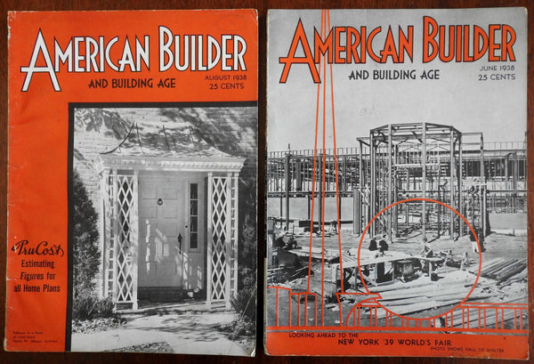 American Builder Magazine Lot of 2 trade magazines 1938 architectural plans