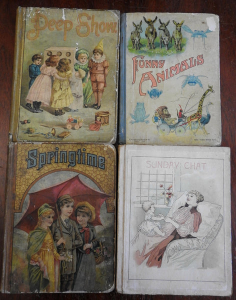 4 Illustrated chromo cover Children's Books 1889-1890's Funny Animals pictorial
