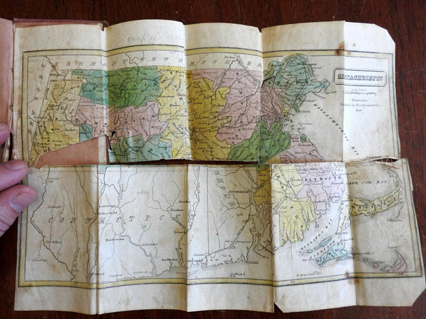 Massachusetts rare pocket map in case 1839 Howland population stats booklet