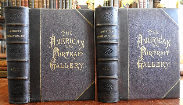 American Portrait Gallery 1877 2 volume set Famous Americans Lincoln Edison Poe