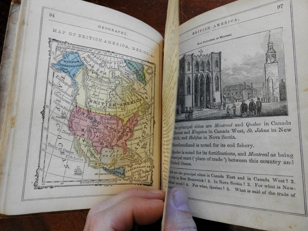 Juvenile Geography 1853 Smith illustrated children's school book hand color maps