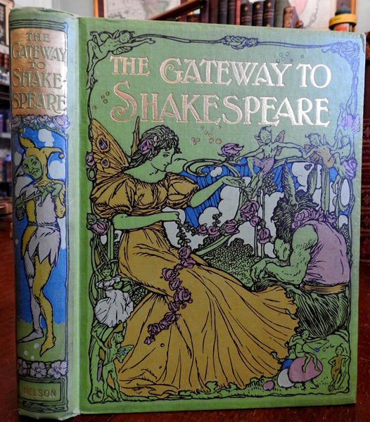 Shakespeare Art Nouveau binding Fairies 1910 lovely color illustrations