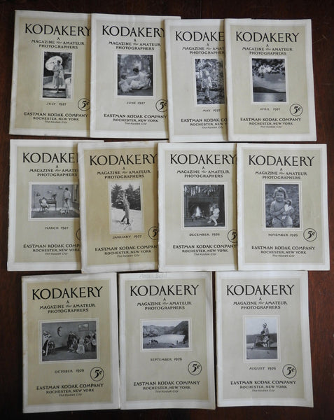 """Kodakery"" Amateur Photography 1926-1927 monthly periodical 11 issues Kodak Co."