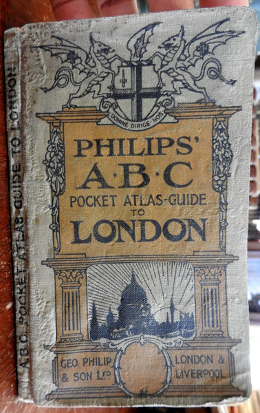 London 1920's Philips' ABC Guide illustrated travel book w/ maps