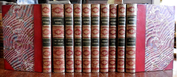 Lord Lytton Collected Works c. 1880's beautiful 10 fine books red leather set