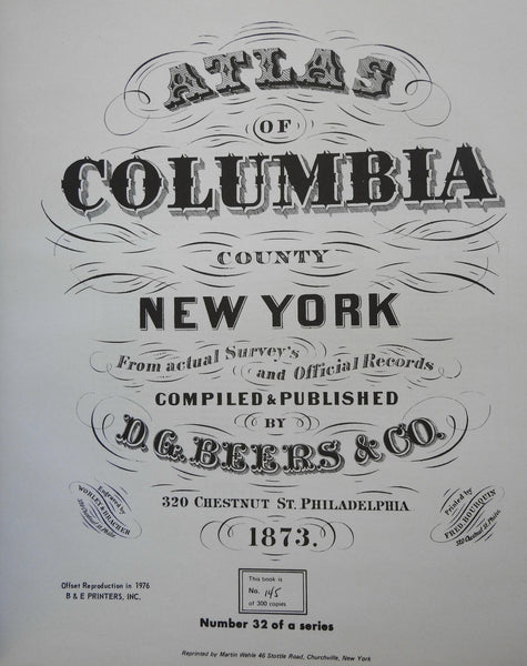 Atlas of Columbia County New York 1976 Offset Reissue limited series #145