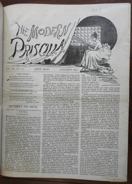 Modern Priscilla 1890-91 Lynn Mass. rare Women's Arts Textile journal 24 issues
