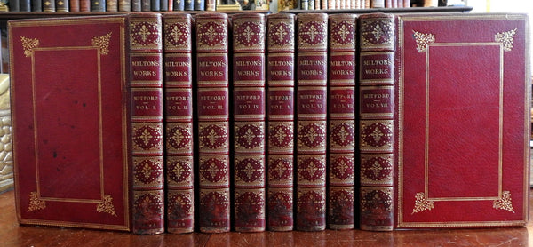 John Milton Works Verse & Prose 1863 London fine 8 vol. red morocco leather set