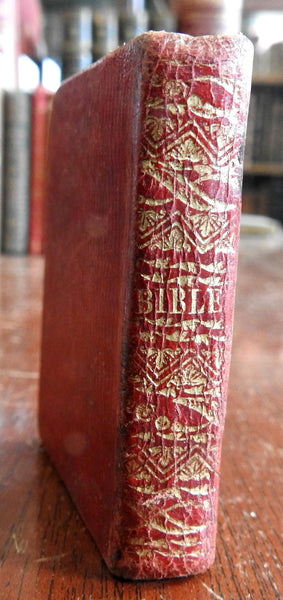 Miniature Holy Bible Old New Testaments 1830's woodcut illustrated leather book