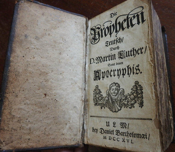 Martin Luther's Biblical Prophets Old & New Testament 1716 German leather book