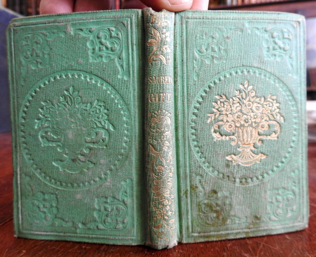 Sacred Gift Poetry 1850 miniature gilt ornamental gift book collected anthology