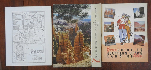 Utah 1950's Lot x 3 Travel Guides & State Highway Map Profusely Illustrated