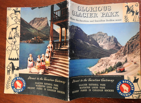 Glacier National Park Rocky Mountains 1940 illustrated travel guide w/ lg. map