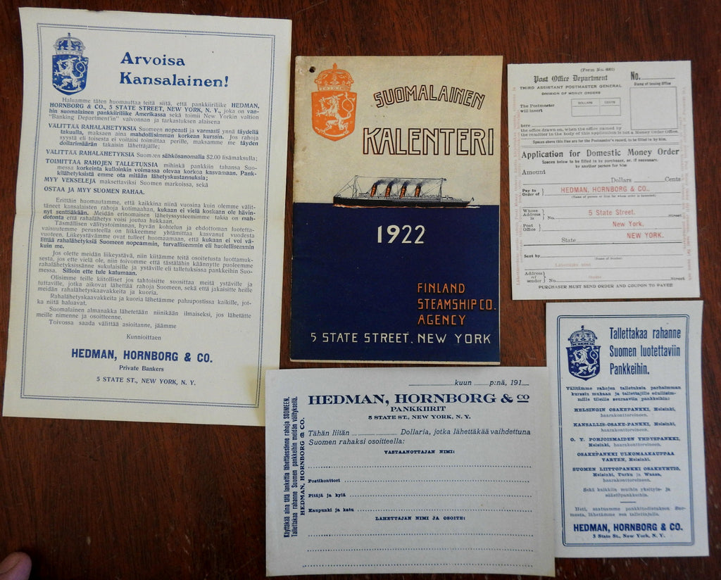 Finland Steamship Company 1922 travel brochure timetables period advertising