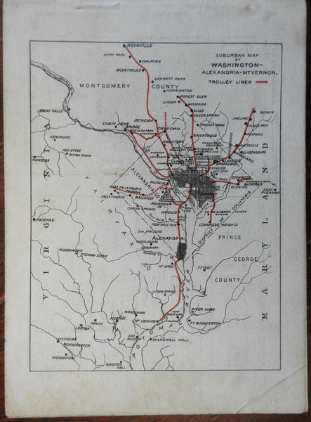 Washington D.C. Trolley Trips 1910 rare pocket guide illustrated tourism w/ map
