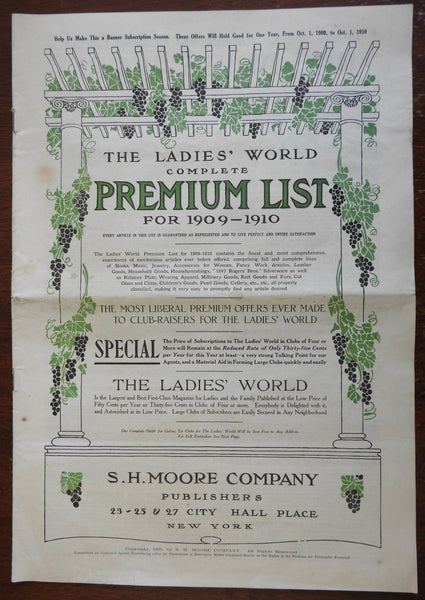 Complete Premium List for 1909-10 Ladies World newspaper subscription prizes
