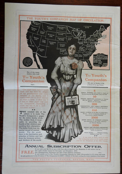 Pictorial U.S. A. Circulation Map w/ woman 1903 newspaper Ladie's World Youth