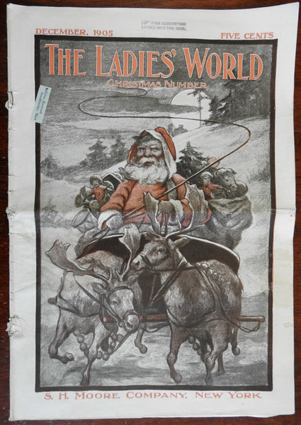 Santa Claus Christmas color cover 1905 Sleigh Reindeer Toys women's newspaper