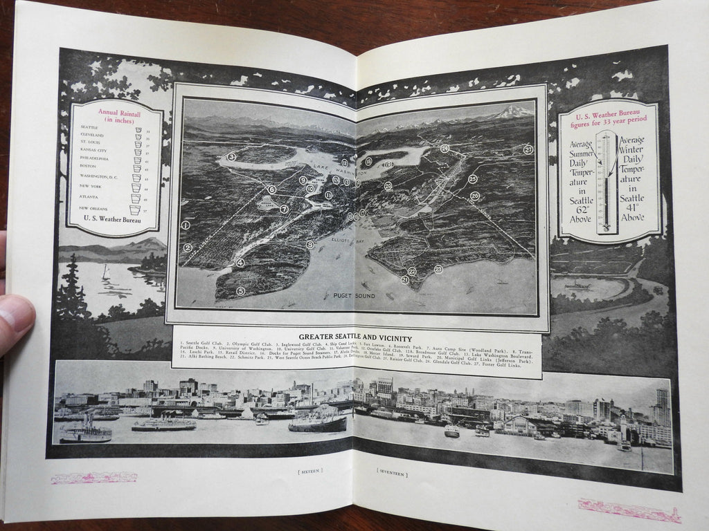 Seattle Washington c. 1925 illustrated promo guide aerial photographs city plan