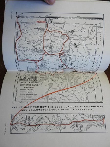 Yellowstone Park Wyoming 1920's Americana railway illustrated tourist guide maps