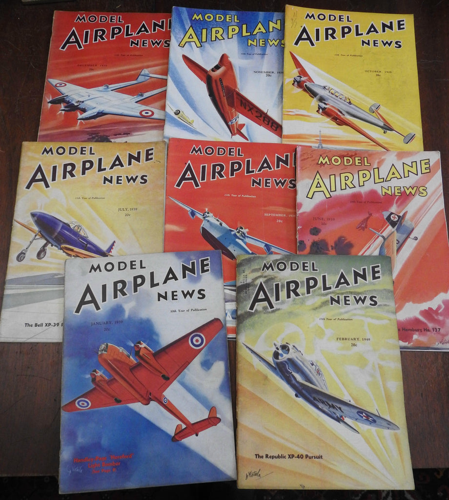 Model Airplane News 8 issue lot 1939-40 aviation hobby magazine lovely covers