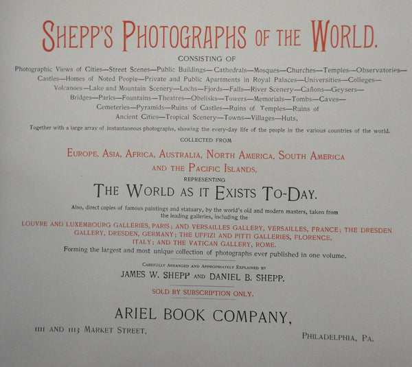 Photographs of the World 1891 nice Book souvenir album illustrated 100's views