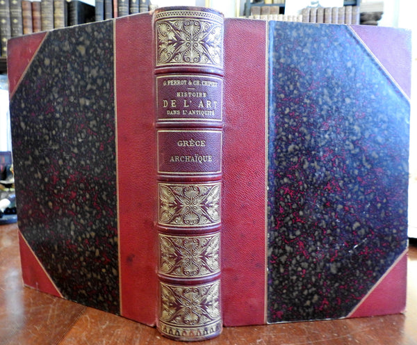 Ancient Art Greek sculpture history 1903 Perrot fine illustrated Leather Book