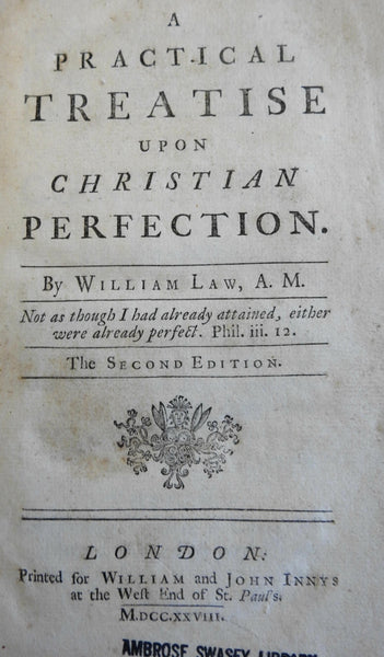 Christian Reflection William Law 1728 Christian Religious Philosophy old book