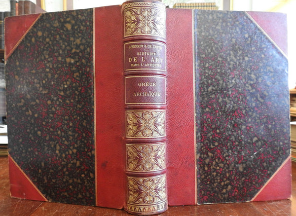 Ancient Greek Art Temple Architecture 1898 Perrot fine illustrated leather Book