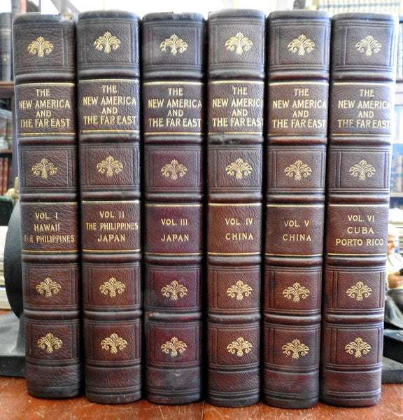America Far East Hawaii Asia Japan China 1906 leather 6 vols 1200+ views & maps