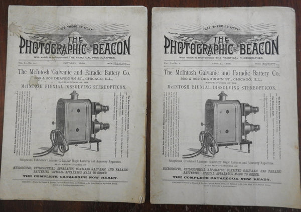 The Photographic Beacon 1886 photography trade magazine 2 issues stereopticon