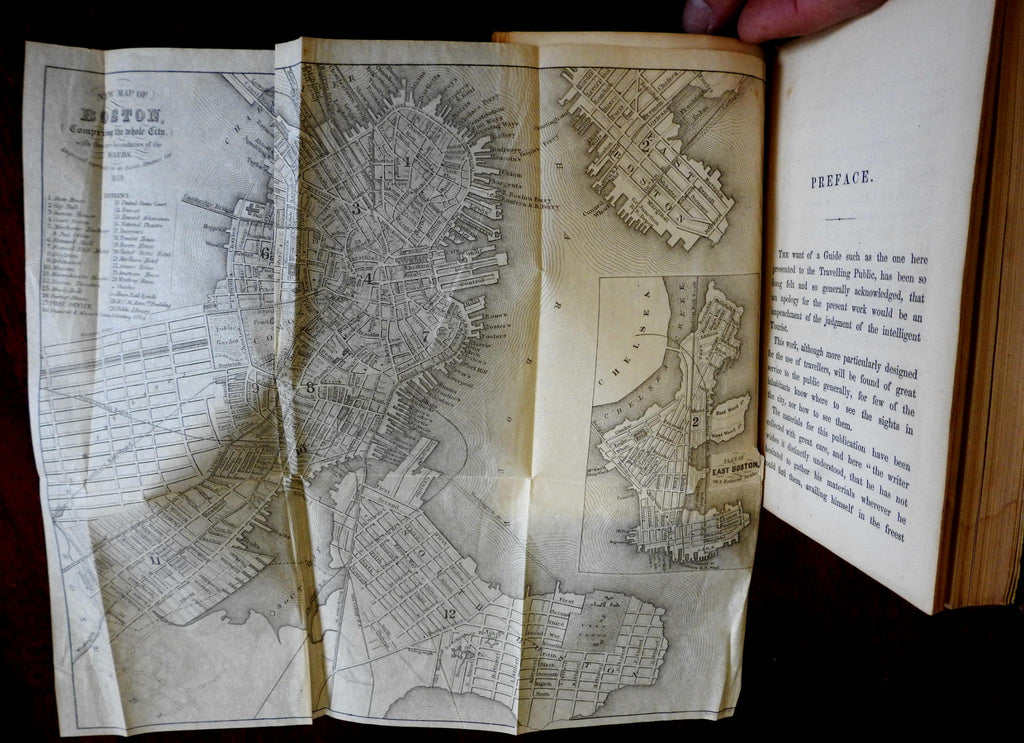 Traveler's Guide to Boston 1857 illustrated travel guide w/ two city plan maps