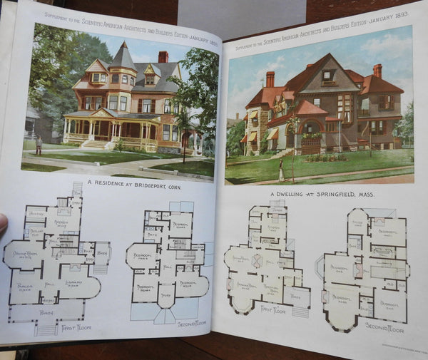 Scientific American 1893 Building Architecture 12 issues 24 color plates Houses