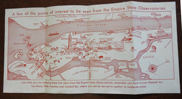 Empire State Observatory Cartoon Pictorial Map Manhattan NYC c. 1930's pamphlet