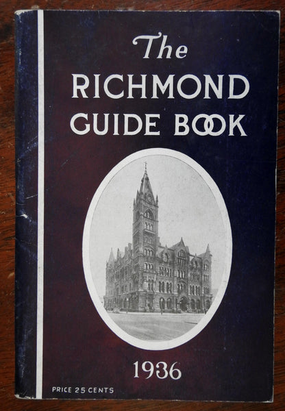 Richmond Virginia Guide Book 1936 city map illustrated tourist guide advertising