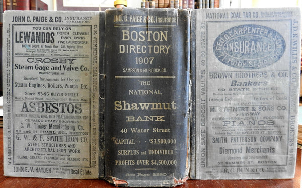 Boston Directory 1907 City Record Citizen & Business Directory Monumental Book