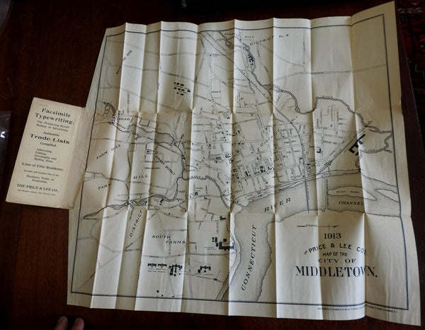 Middletown Connecticut promotional c. 1910 Price & Lee Co. city plan pocket map