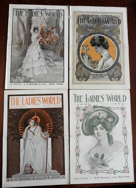 Ladies' World Magazine 1903 Lot x 4 issues great covers period adverts fashion