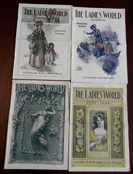 Ladies' World Magazine 1902 Lot x 4 issues great covers period adverts fashion