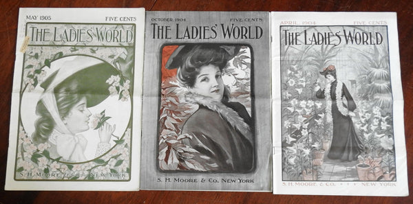 Ladies' World Magazine 1904-5 issue lot x 3 great covers period adverts fashion
