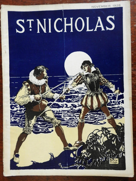 Henry Pitz cover 1928 illustrated juvenile's St. Nicholas Magazine ads stories