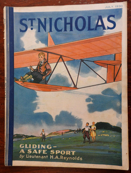 Aviation boy flying Glider 1930 St. Nicholas Magazine illustrated children's