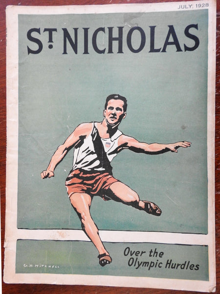 St. Nicholas Magazine 1928 GH Mitchell Track sport cover illustrated children's
