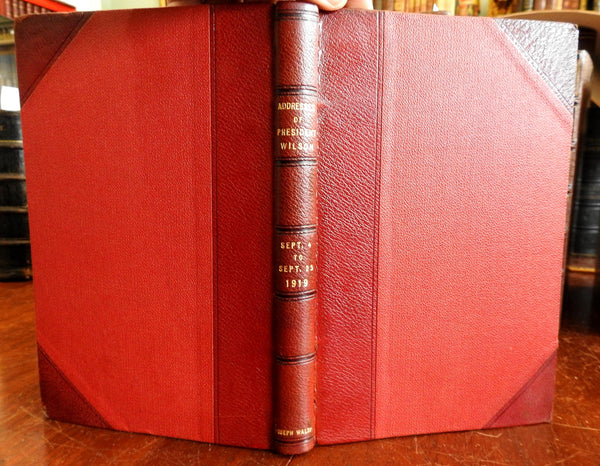 Woodrow Wilson League of Nations Speeches Americana 1919 leather book