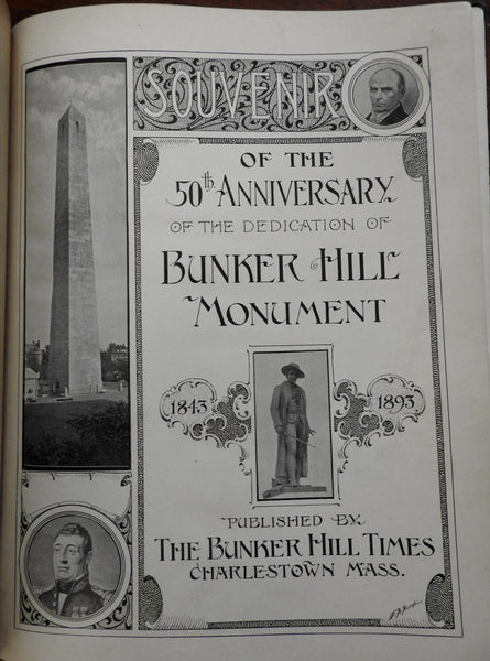 Bunker Hill Monument 50th Anniv. Dedication Souvenir 1893 Boston book photos