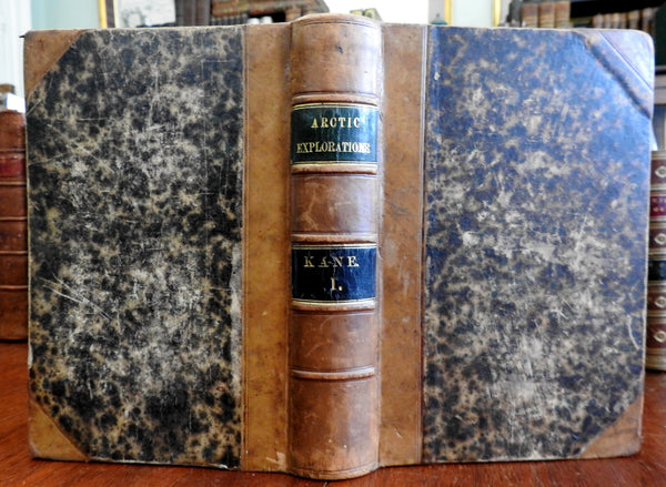 Artic Explorations 1856 Elisha Kane illustrated leather book map views