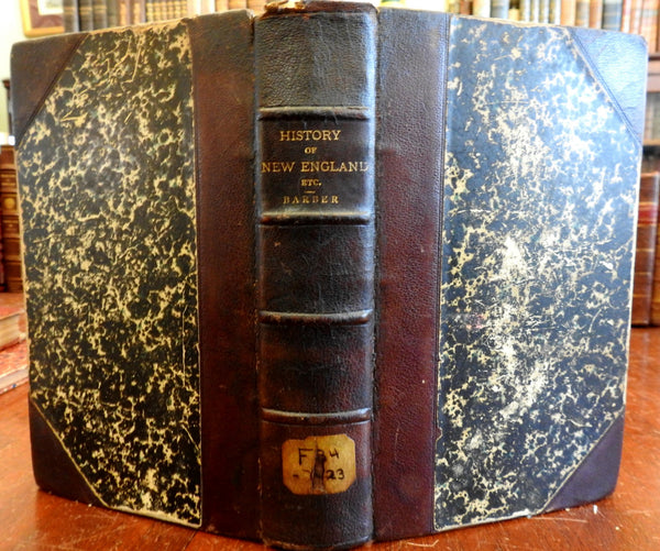New England History & Antiquities 1843 John Barber illustrated leather book